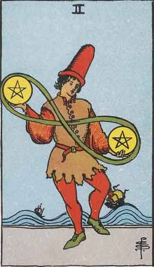 Tarot card - The Two of Pentacles