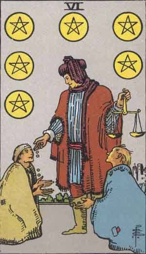 Tarot card - The Six of Pentacles