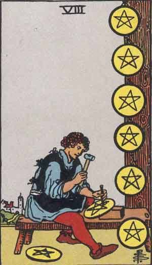 Tarot card - The Eight of Pentacles