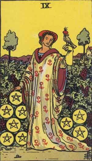 Tarot card - The Nine of Pentacles