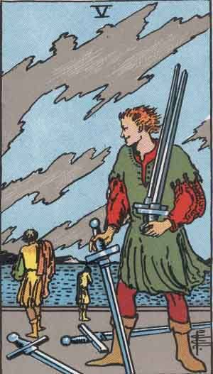 Tarot card - The Five of Swords