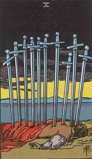 Tarot card - The Ten of Swords