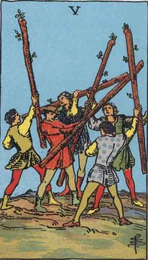 Tarot card - The Five of Wands