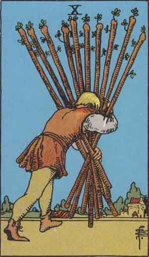 Tarot card - The Ten of Wands
